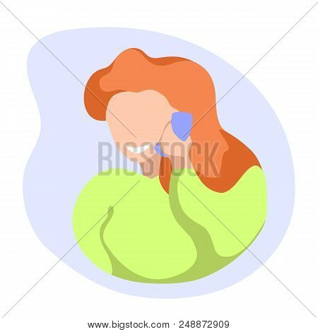 Smiling Girl Speaking By Mobile Phone. Girl With Cellphone Flat Vector. Answering To Call. Phone Con