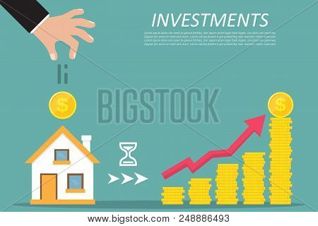 Business Concept. Investing, Real Estate, Investment Opportunity. Vector Illustration.