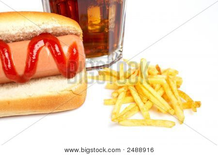 Hot Dog, Soda And French Fries