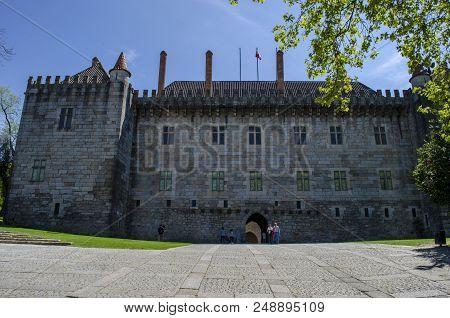 Guimaraes, Portugal, April 2014: Palace Of The Dukes Of Braganza. Most Famous Castle In Guimaraes