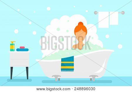 Woman Take Bath Concept Background. Flat Illustration Of Woman Take Bath Vector Concept Background F