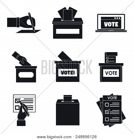 Ballot Voting Box Vote Polling Icons Set. Simple Illustration Of 9 Ballot Voting Box Vote Polling Ve