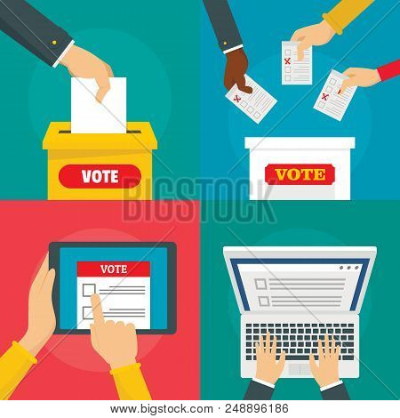 Ballot Voting Box Vote Polling Banner Concept Set. Flat Illustration Of 4 Ballot Voting Box Vote Pol