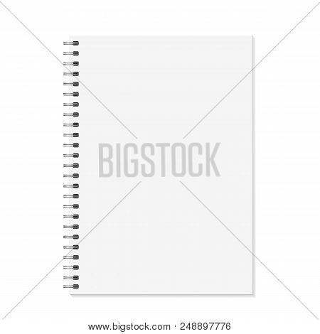 Notebook Mock Up. Open Book With Metal Spiral Template. Isolated On White Background. A4 Bound Pages
