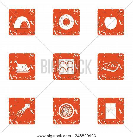 Delicacy Meat Icons Set. Grunge Set Of 9 Delicacy Meat Vector Icons For Web Isolated On White Backgr