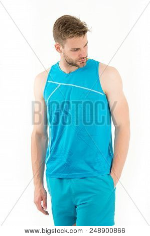 Sportsman. Muscular Sportsman In Sport Wear. Sport Fashion For Handsome Athletic Sportsman. Stylish