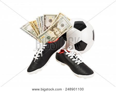 What Are The Costs Of A Professional Player. Soccer Ball And Boots As A Symbol Of Good Investment In