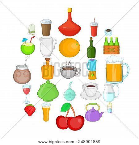 Boozing Icons Set. Cartoon Set Of 25 Boozing Vector Icons For Web Isolated On White Background