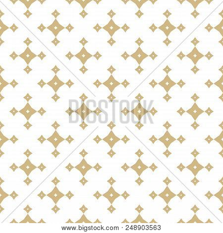 Vector Golden Abstract Geometric Seamless Pattern With Small Stars, Diamond Shapes, Rhombuses. Luxur