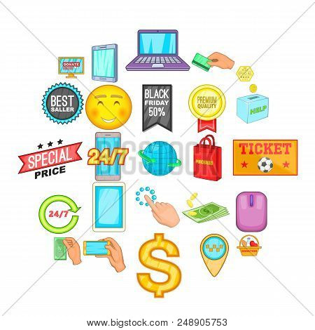 E-commerce Icons Set. Cartoon Set Of 25 E-commerce Vector Icons For Web Isolated On White Background