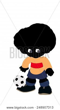 Soccer Player, Ready To Score A Goal. Twinkle In His Eyes