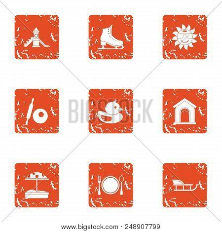 Chute Icons Set. Grunge Set Of 9 Chute Vector Icons For Web Isolated On White Background