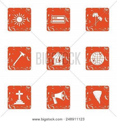 Bury Icons Set. Grunge Set Of 9 Bury Vector Icons For Web Isolated On White Background