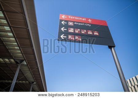 Berlin / Germany - April 29, 2018: Signpost On Passenger Terminal Berlin Brandenburg Airport, Willy