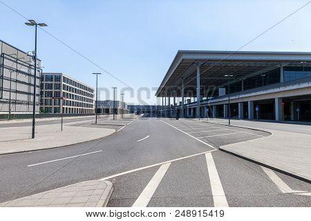 Berlin / Germany - April 29, 2018: Passenger Terminal Berlin Brandenburg Airport, Willy Brandt. The