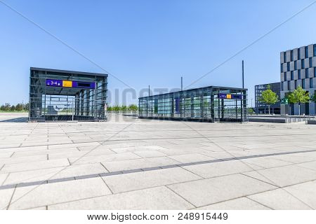 Berlin / Germany - April 29, 2018: Entry Building For Train Station Deutsche Bahn On Berlin Brandenb