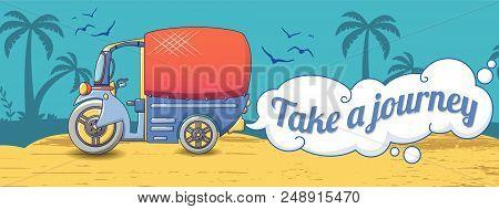 Take A Thai Journey Concept Banner. Cartoon Illustration Of Take A Thai Journey Vector Concept Banne