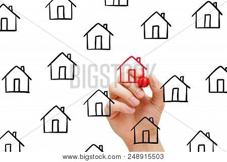 Hand Drawing Finding New House To Buy Concept With Marker On Transparent Wipe Board.