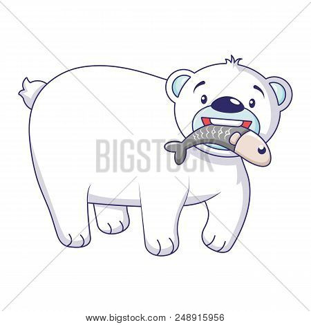 Polar Bear With Fish Icon. Cartoon Of Polar Bear With Fish Vector Icon For Web Design Isolated On Wh