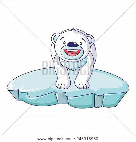 Polar Bear On Iceberg Icon. Cartoon Of Polar Bear On Iceberg Vector Icon For Web Design Isolated On