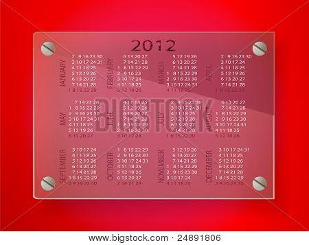 Calendar for 2012 on glass label