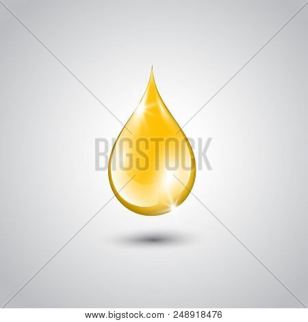 Gold Drop Of Oil Essence. Vector Illustration Isolated On White Background. Shining Droplet Of Serum