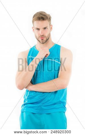 Focused On Results. Man Sporty Outfit Looks Concentrated And Focused White Background. Guy Muscular