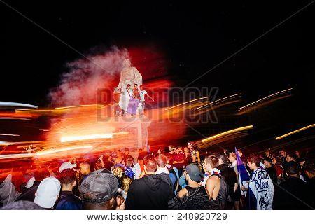 Strasbourg, France - July 10, 2018: People Celebrating Happy Ambiance On Central Place Kleber After
