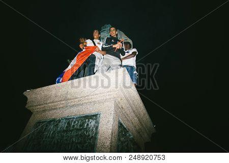 Strasbourg, France - July 10, 2018: People On General Kleber Statue After The Victory Of France Qual