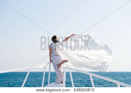 Honeymoon Sea Cruise. Things Consider For Wedding Abroad. Wedding Ceremony Sea Cruise. Bride Adorabl