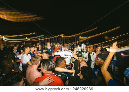 Strasbourg, France - July 10, 2018: Light Trails Over Crowd Of Central Place Kleber After The Victor