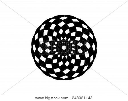 Black Checkered Mandala On White Background. Mandala Decor Vector Element. Round Stamp Template. Cir