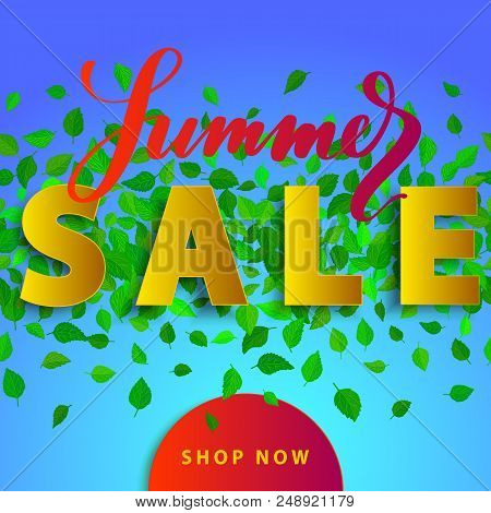 Sale Summer Poster With Green Falling Leaves On Background. Advertisement Banner With 3d Effect Elem