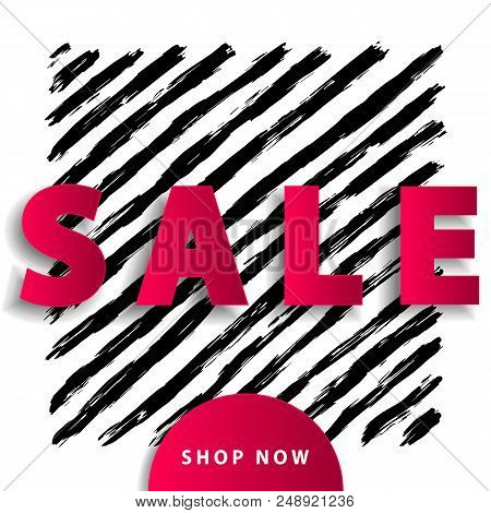 Sale Poster With Red Paper Cut Elements On Black Stripy Background. Advertisement Banner With Hand D