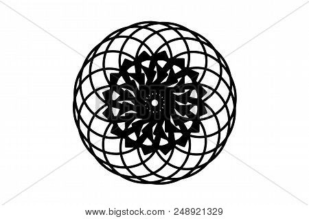 Black Vector Mandala On White Background. Minimalist Mandala Decor Element. Round Stamp Template. Ci