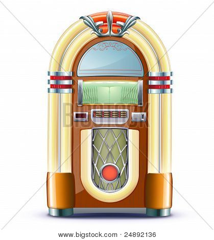 illustration of retro style detailed classic juke box. poster