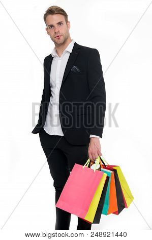 Man Stylist Professional Shopper. Shop Consultant Helps Carries Bunch Shopping Bags. Clothes Consult
