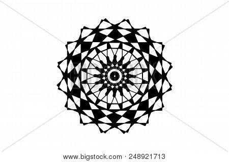 Black Vector Mandala On White Background. Geometric Mandala Decor Element. Round Stamp Template. Cir