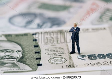India Financial And Economy, New Emerging Market High Growth Country Concept, Closed Up Of Miniature