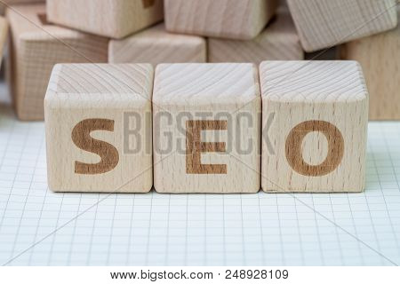 Seo, Search Engine Optimization Ranking Concept, Wooden Cube Block With Alphabets Abbreviation Seo A