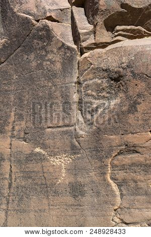 Flinders Ranges, South Australia, Australia - March 15, 2018: Aboriginal Engraving Within The Sacred