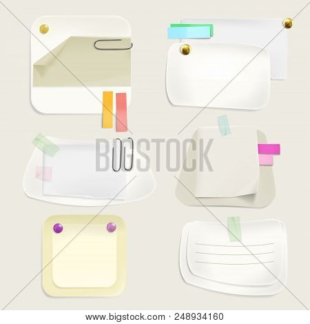 Paper Message Notes Vector Illustration Of Memo Stickers And Reminders With Clips, Pins And Thumbtac