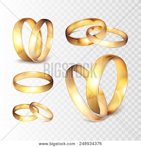 Stock Vector Illustration Realistic Gold Wedding Ring Set Isolated On A Transparent Checkered Backgr