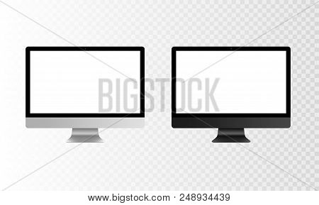 Stock Vector Illustration Realistic Set Personal Professional Desktop Computer, Pc. Modern Flat Scre