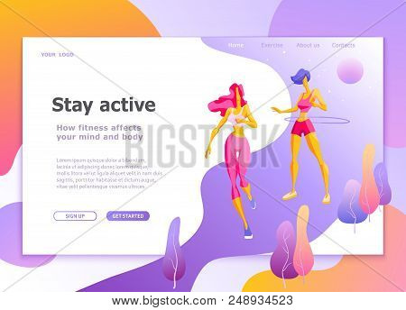 Landing Page Template Of Healthy Lifestyle Womens Fitness Modern Flat Design Concept Of Web Page Des