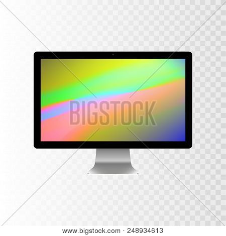 Stock Vector Illustration Realistic Personal Desktop Computer, Pc. Modern Flat Screen Monitor. Compu