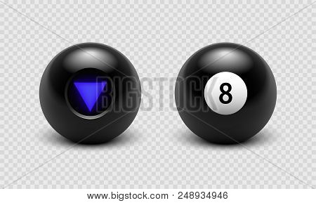 Vector Illustration Magic 8 Ball Set. Eight. Isolated On A Transparent Checkered Background Eps10