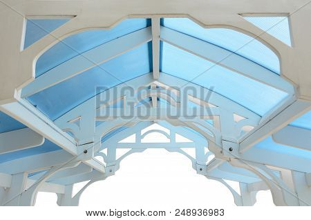 Wood Frame Of A Summerhouse Roof With Wood Rafter Isolated