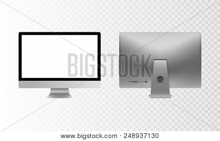 Stock Vector Illustration Set Personal Desktop Computer, Pc. Modern Flat Screen Monitor. Back Side C