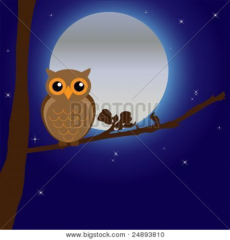 Night Owl with Moon